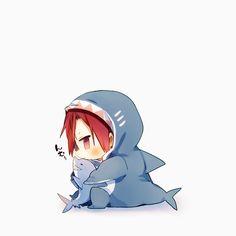 Drawn by mukku55 ... Free! - Iwatobi Swim Club, free!, iwatobi rin matsuoka, rin, matsuoka, plush shark, shark outfit