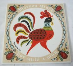 Scandi Art, Scandinavian Folk Art, Kitchen Artwork, Glass Spice Jars, Swedish Style, Bird Art, Worms, Vintage Ceramic, Rooster