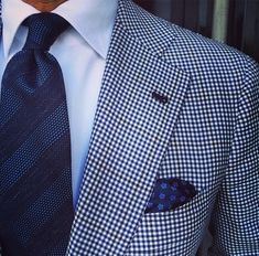 Blue gingham jacket, white shirt, navy tie