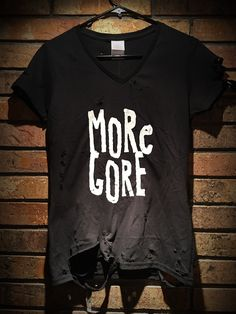 Distressed More Gore screen printed shirt with inverted cross on back