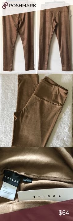 NEW Faux Suede Leggings Camel Color Size Large but will fit L/XL. Plenty of stretch to them. Nice, wide waistband. New with tags. Super soft faux Suede material. Camel color. Nice quality leggings. Tribal Pants Leggings