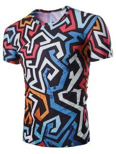 La irregularidad geométrica 3D de impresión cuello redondo manga corta de  la camiseta para los hombres 46338f1f88b82