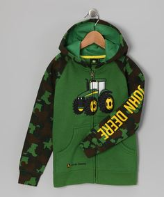 Take a look at this Green Camo Tractor Zip-Up Hoodie - Infant by John Deere Boys on #zulily today!