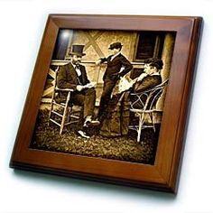 """1874 President Ulysses S. Grant and Family 3 - 8x8 Framed Tile by Scenes from the Past. $22.99. Keyhole in the back of frame allows for easy hanging.. Cherry Finish. Inset high gloss 6"""" x 6"""" ceramic tile.. Dimensions: 8"""" H x 8"""" W x 1/2"""" D. Solid wood frame. 1874 President Ulysses S. Grant and Family 3 Framed Tile is 8"""" x 8"""" with a 6"""" x 6"""" high gloss inset ceramic tile, surrounded by a solid wood frame with predrilled keyhole for easy wall mounting."""