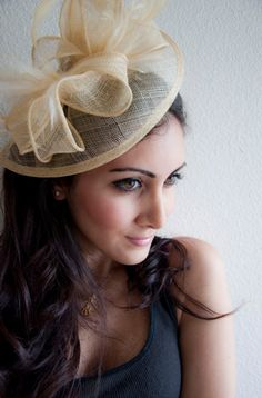 "Champagne Gold Fascinator - ""Penny"" Mesh Hat Fascinator with Mesh Ribbons & Golden Feathers"