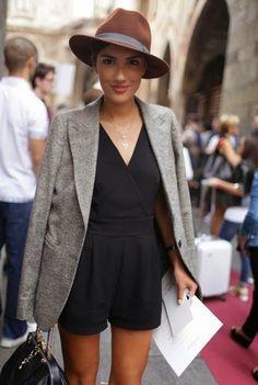 Black romper with tweed jacket