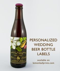 Hoppily ever after I do Brew personalized wedding beer bottle labels. Makes a great wedding favour for home brewers.