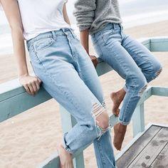 Pantalon bleu délavé troué !! Relax