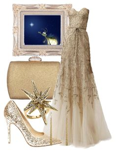 """Day 93: Evangeline (The Princess and the Frog)"" by onceuponascreen ❤ liked on Polyvore featuring Carlo Fellini, Monique Lhuillier, Steve Madden, Belle Noel by Kim Kardashian and Me&Ro"