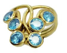 pretty-pretty Blue topaz CZ Gold Plated Blue Ring wholesales US 6789