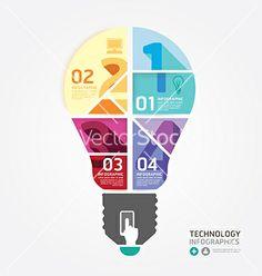 Modern design info graphic light bulb template vector 2072154 - by pongsuwan on VectorStock®