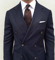 A navy double breasted pinstripe men's suit is dapper and timeless. For your most comfortable, best looking and fitting suit or tuxedo come see Giorgenti New York. Your style consultation is free with one of expert designers/tailors. Blue Pinstripe Suit, Blue Suit Men, Mens Fashion Suits, Mens Suits, Wedding Suit Styles, Suit Combinations, Classy Men, Well Dressed Men, Suit And Tie