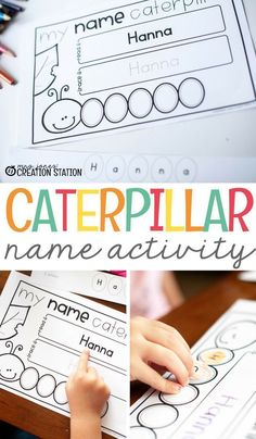 This caterpillar name activity is a great way to practice letter recognition, cutting, tracing, more! Come grab the free editable printable and get started with a fun name learning activity for your preschooler. - Education and lifestyle Name Activities Preschool, Name Writing Activities, Name Writing Practice, Kindergarten Names, Preschool Letters, Free Preschool, Preschool Printables, Preschool Learning, Preschool Activities