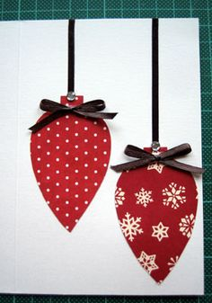 handmade christmas card ideas  I really like this idea.  IT's so simple and the papers make all the difference.  I fancy some flocked paper on the baubles.