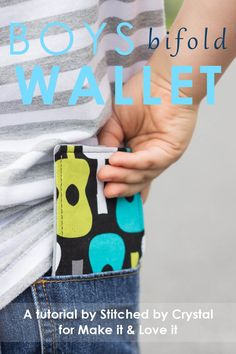 Sewing Gifts Time to sew for the boys! Make this cute bifold wallet for your little guy (or gal) with this step-by-step tutorial! - Time to sew for the boys! Make this cute bifold wallet for your little guy (or gal) with this step-by-step tutorial! Sewing Projects For Beginners, Sewing Tutorials, Sewing Hacks, Sewing Crafts, Sewing Tips, Sewing Ideas, Kid Sewing Projects, Tutorial Sewing, Diy Projects