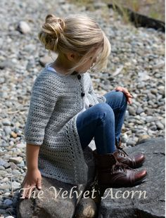 Welcome to The Velvet Acorn, here you will find purely original pattern designs in knit and crochet. Inspired and crafted with my love of nature and the outdoors in mind. Pull Crochet, Crochet Girls, Crochet For Kids, Knit Crochet, Ravelry Crochet, Cardigan Pattern, Crochet Cardigan, Lace Cardigan, Crochet Jacket