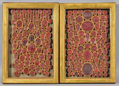 Two Framed Groups of Wax Intaglios