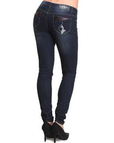 Buy Vegan Leather Trim Back Pocket Skinny Jean Women's Bottoms from Baby Phat. Find Baby Phat fashions & more at DrJays.com
