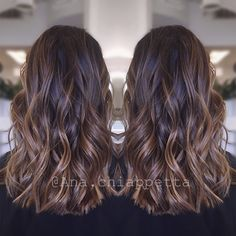 Color by @colorbyana Cristophe salon Newport Beach ca. Dark brunette balayage caramel highlights style curly beachwaves