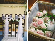 Flower basket filled with the wedding bouquets and delicate chair decoration for Andrew and Rebecca's wedding at Luttrellstown Castle Resort