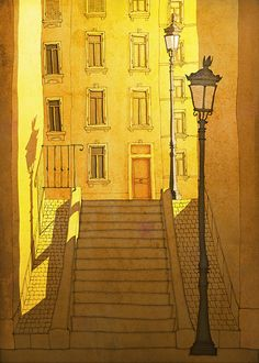 Paris illustration Morning Shine Paris by tubidu on Etsy