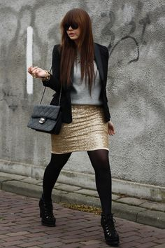 sequin skirt, grey sweater and blazer