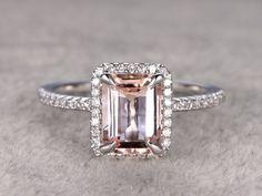 6x8mm Morganite Engagement ring White gold,Diamond wedding band,14k,Emerald Cut,Gemstone Promise Bridal Ring,Claw Prongs,Custom made setting