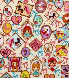 French Girls - Cute fabric with Kawaii girls - Japanese Cotton Fabric 3/4 Yard