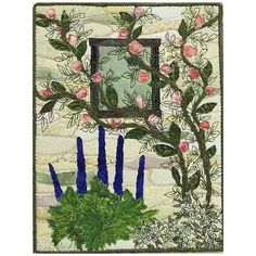 Rose Garden Window Art Quilt- Stones and Walls Series Wall Art- 5x7