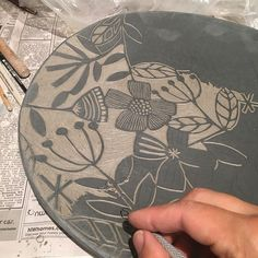 #clay #pottery #handmade#carving#thankful inspired by a paper cutting image. I love carving stamps so it helped me have the courage to give it a try on clay. Love carving!