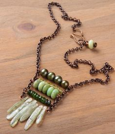 RESERVED FOR LISA. Cinco Verde necklace: green kyanite, peridot, pearl, chrysoprase, tourmaline