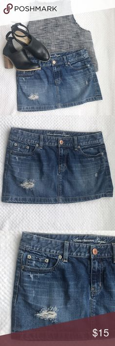 AMERICAN EAGLE SKIRT AE distress denim mini skirt. Size 4, waist is about 16 inches, and skirt length is about 12 inches. Good condition, no stains. Top is also available! •smoke free and pet free environment. American Eagle Outfitters Skirts Mini