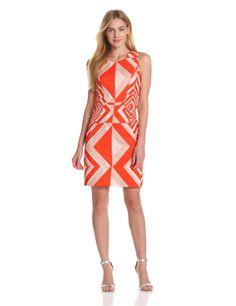 Vince Camuto Womens Sleeveless Printed Sheath Dress