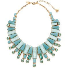 Kate Spade New York Beach Gem Statement Necklace ($105) ❤ liked on Polyvore featuring jewelry, necklaces, collar, aqua multi, beach necklace, clear crystal bib necklace, aqua necklace, gem statement necklace and collar necklace