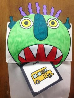 Speech Therapy with Miss Nicole: Go Away Big Green Monster, initial g words, monster puppet template, preschool activity