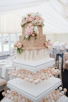 Real wedding: a romantic day at Chippenham Park with a Pronovias wedding dress - Gallery Image 12 - White and rose gold wedding cake with cake pops Wedding Cake Roses, Beautiful Wedding Cakes, Perfect Wedding, Rosegold Wedding Cake, Romantic Wedding Cakes, Wedding Cupcakes, Gold Wedding Cakes, White And Gold Wedding Cake, Beautiful Cakes