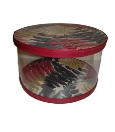 Vintage Hat Box - Exotic Fern Print