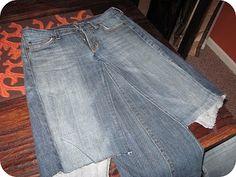 Blue Jean ReVamp (denim skirt out of old jeans... looks easy!)