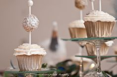 """Combine cupcakes with cake pops to make gorgeous """"ball drop""""-inspired treats. 