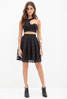 FOREVER 21 Topstitched Check Organza Skirt