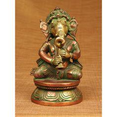 Brass Ganesha Playing Horn Sculpture (India)