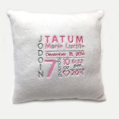 White and pink Birth Announcement Pillow