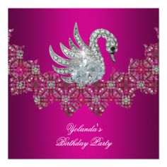 Birthday Party Swan pink Floral Black Personalized Invitations