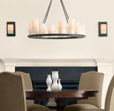 Diy a hard wired version of this rectangular pillar candle pillar candle round chandelier small chandeliers restoration hardware aloadofball Image collections