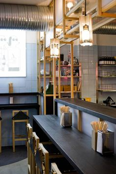 Copenhagen's hippest hound oversees the considered Japanese philosophy at design-conscious noodle bar Slurp Ramen Joint. Coffee Shop Interior Design, Italian Interior Design, Japanese Interior Design, Restaurant Interior Design, Cafe Design, Japanese Design, Design Design, Luxury Restaurant, Modern Restaurant