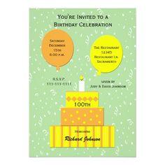 100th Birthday Party Invitation Fun 100th Cake