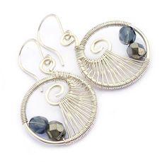 Black Wire Weave Spiral Hoop Earrings - Wire Wrapped Jewellery