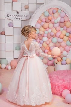 Lace Ivory Erröten rosa Blumen-Mädchen-Kleid Hochzeit