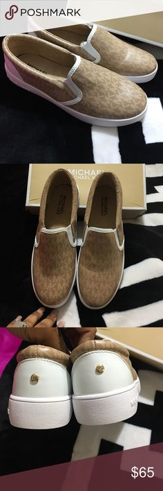 Michael Kors SlipOns Ivy Alita New with box size 5y= women 7🖤No Holds 🖤Be respectful No rude comments=Blocked 🖤Bundle and save on shipping 10% off 🖤No Separating Of Item 🖤No trying on items  🖤If items are listed it's still available  🖤Please Use Offer Button will not respond to what's your lowest  Honest Buyer/Seller/Trader shop with confidence  Items comes from a SMOKING home if that's a problem don't purchase, Ask Questions all items are described accurately.  Thanks for Looking🖤…