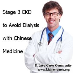 How to Treat Stage 3 CKD to Avoid Dialysis  Stage 3 CKD is a very important stage for patients, and if it can not be controlled well, stage 4 and end stage kidney disease will come later, which is always suggested for dialysis to help kidney to filter the blood. How to treat stage 3 CKD to avoid dialysis?